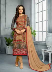 Capricious Print Work Cotton Churidar Suit