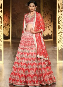 Capricious Red Satin Lehenga Choli
