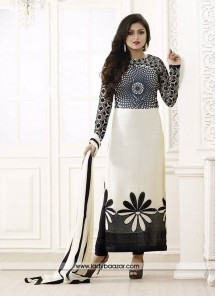 Captivating Black and white Embroidered Work Designer Suit