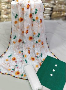 Captivating Chickan Green And White Cotton Dress Material