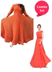 Captivating Gorgette & CIndo-Western Readymade Gowns - Pack of 2