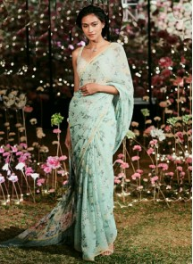 Captivating Turquoise Silk Designer Saree