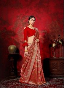 Captivating Weaving Banarasi Silk Red Traditional Saree