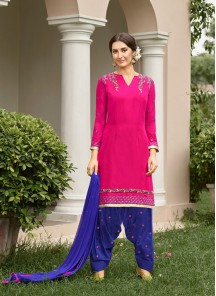 Catchy Blue With Pink Embroidery Work Patiyala Salwar Kameez
