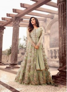 Catchy Embroidery With Stone Work Net Green Anarkali Salwar Suit