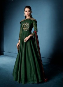 Catchy Morvi Silk Embroidered Floor Length Anarkali Suit