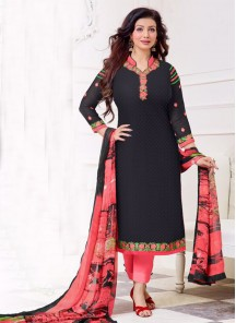 Charming Cotton  Embroidered Churidar Suit