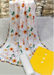Charming Cotton Yellow And White Chikan Dress Material.