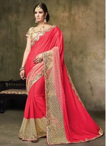 Charming Embroidered Chiffon Satin Designer Saree