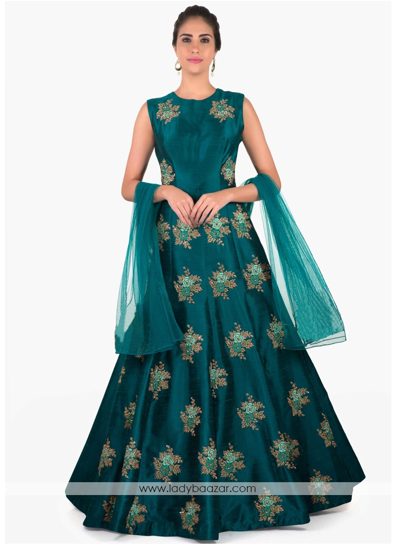 Charming Embroidered Work Gown