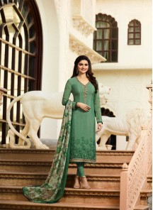 Charming Embroidery Work Green Crepe Salwar Kameez