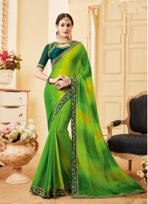 Charming Green Patch Border Work Georgette Classic Saree