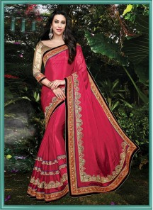 Charming Patch Border Work Net Designer Saree