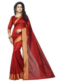 Charming Red Color Cotton Silk Casual Saree