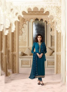Cherubic Blue Georgette Embroidery Work Salwar Kameez