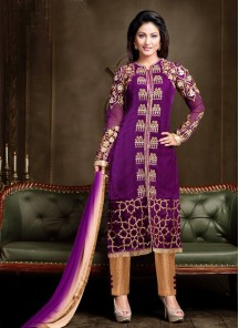 Delightsome Purple Churidar Designer Suit