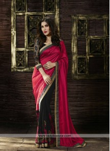 Classical Art Silk Red Patch Border Work Designer Saree