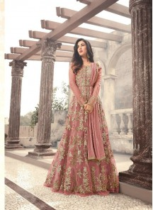 Classical Peach Embroidery With Stone Work Net Floor Length Anarkali Suit