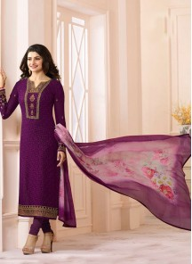 Classical Purple Georgette N Chiffon Party Wear Salwar Suit