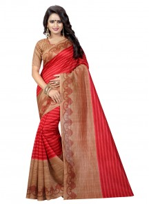 Classical Red Color Bhagalpuri Silk Printed Saree