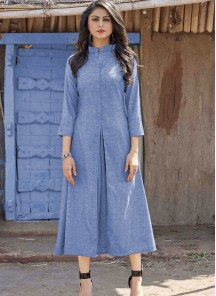 Classy Designer Wear Single Pleated Cotton Party Wear Kurti