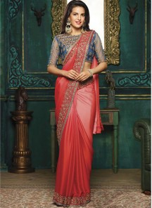 Classy Embroidery Work Red  Moss Chiffon Saree
