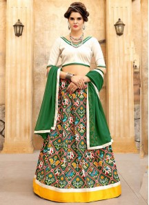 Classy Jacquard Silk Green With Cream Printed  Lehenga Choli