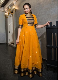 Classy Mustard Colored Party Wear Silk Jacquard We