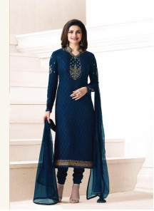 Classy Navy Blue Brasso Embroidery Work Churidar Salwar Suit