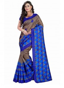 Compelling  Blue Bhagalpuri Printed Causual Saree