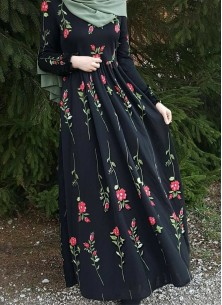 Congenial Embroidered Work Black Rayon Party Wear