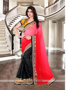 Congenial Georgette Patch Border Work Designer Saree