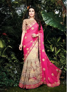 Congenial Pink Patch Border Work Georgette Designer Saree