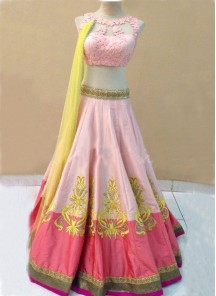Conspicuous Pink Net A Line Lehenga Choli