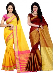 Cotton Printed Causal Combo Pack of 2 Saree