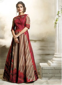 Cotton Red Stiched Designer Gown