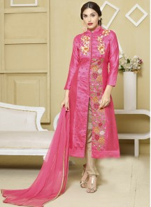 Amazing pink colour Cotton Satin churidar suit