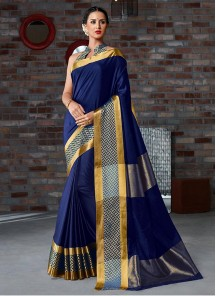 Cotton Silk Blue Printed Casual Saree