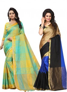 Cotton Silk Printed  Casual Saree Pack Of 2 Combo