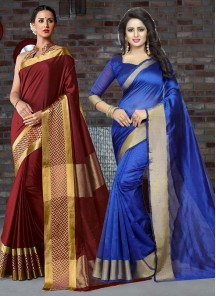 Cotton Silk Printed Saree Pack Of 2 Combo