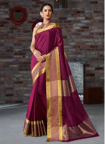 Cotton Silk Red Casual Printed Saree