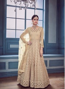 Cream Georgette Embroidered Work Anarkali Salwar Suit