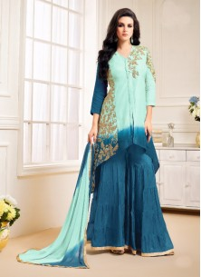 Cute Banglori Silk Embroidery Work Designer Palazzo Salwar Suit