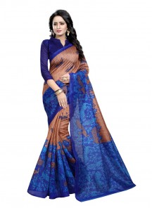 Cute Bhagalpuri Silk Blue Printed Casual Saree