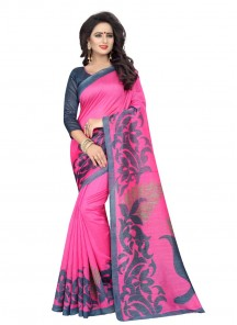 Cute Bhagalpuri Silk Pink Printed Casual Saree