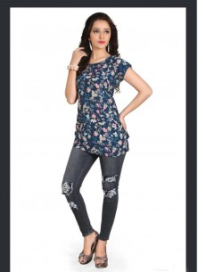 Cute Blue Printed Crepe Western Wear
