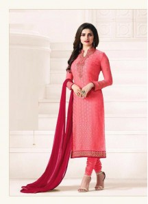 Cute Brasso Pink Embroidery Work Straight Suit