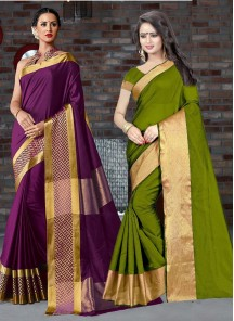 Cute Cotton Silk Saree Pack Of 2 Combo