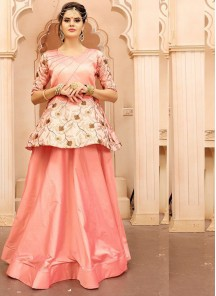 Cute Embroidered Work Jacquard Silk Peach Readymade Gown
