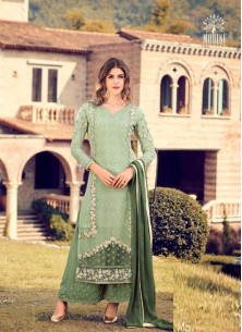 Cute Green Embroidery Work Georgette  Palazzo Styl